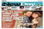 Berita mengenai Kim West dan Ben Ford yang menghiasi halaman depan New Day (New Day)