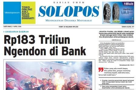 Halaman Depan Harian Umum Solopos edisi Sabtu, 9 April 2016