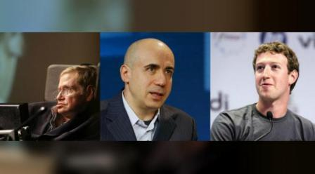 Yuri Milner, Mark Zuckerberg, dan Stephen Hawkings (Reuters)