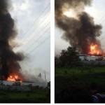 Asap membubung tinggi dan api besar menyala di pabrik mebel Rakabu Sejahtera di Kalijambe, Sragen, Selasa (19/4/2016). Kebakaran pabrik milik Joko Widodo itu terjadi sejak sore. (Istimewa/Hasfitri/Kalijambe)