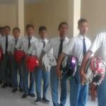 Siswa SMK Muhammadiyah 3 Karanganyar mengikuti sosialisasi dan praktik safety riding bersama Honda Jawa Tengah, Selasa (19/4/2016). (Sri Sumi Handayani/JIBI/Solopos)