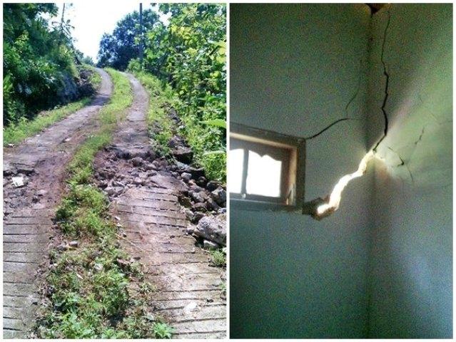 Kondisi jalan dan rumah di Dukuh Krajan, Desa Tugurejo, Kecamatan Slahung, Ponorogo, yang retak-retak akibat tanah bergerak. (Istimewa)