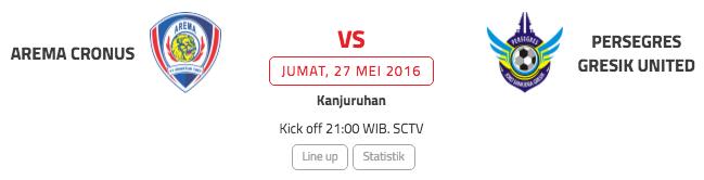 Jadwal Arema Cronus vs Persegres GU (Indonesiasc)