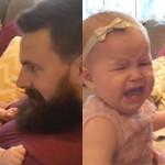 Bayi perempuan menangis lantaran ayahnya dikira orang asing. (Istimewa/Youtube)