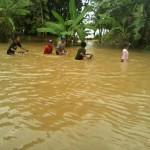 Banjir di Bakung, Priaganom, Masaran. Sragen, Minggu (19/8/2016), ketinggian air 80 cm. (Tri Rahayu/JIBI/Solopos)