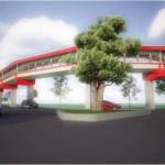 Desain Sky Bridge Terminal Tirtonadi-Solo Balapan tampak depan. (Dishubkominfo Solo)