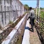 Ketua Gabungan Perkumpulan Petani Pemakai Air (GP3A) Tri Mandiri Sejahtera, Samidi, menunjukkan saluran irigasi di Sawahan, Ngemplak, yang tak berfungsi, Kamis (30/6/2016). (Aries Susanto/JIBI/Solopos)