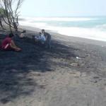 Wisatawan yang berkunjung di Pantai Baru sudah bisa bermain- main kemali di pinggir pantai setelah kondisi ombak yang sudah stabil, Minggu (12/6/2016). (Yudho Priambodo/JIBI/Harian Jogja)