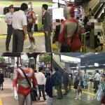 Aksi cosplayer Ultraman di pusat keramaian. (Istimewa/Instagram)