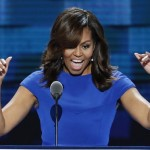 Michelle Obama di Konvensi Partai Demokrat. (Theguardian.com)