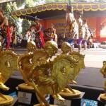 Kelompok Seni Jathilan Sekar Jati asal Kecamatan Ngalik saat tampil dalam Festival Jathilan Sleman 2016 di Lapangan Denggung, Kamis (14/7/2016). (Abdul Hamid Razak/JIBI/Harian Jogja)