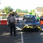 """Polres Kulonprogo menggelar latihan penggunaan """"road blocker"""" sebagai alat penghadang laju kendaraan pelaku kejahatan di jalan lingkar sisi barat kawasan Alun-alun Wates, Selasa (19/7/2016). (Rima Sekarani I.N./JIBI/Harian Jogja)"""