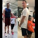 Foto atlet tertinggi dan terpendek yang jadi viral di jejaring sosial. (Istimewa/Reddit/Twitter)