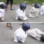 Lomba balap karung di Desa Birit, Wedi, Klaten. (Facebook.com)