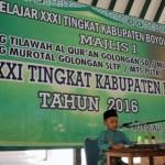 Salah satu peserta mengikuti lomba musabaqah tilawatil quran (MTQ) tingkat Kabupaten Boyolali, Selasa (23/8/2016). (Hijriyah Al Wakhidah/JIBI/Solopos)