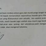 Surat yang dikirim Aswani ke Kepala Sekolah MTsN 1 Bima. (Istimewa/1cak.com)