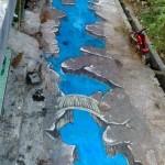 Jalan perkampungan di Desa Madegondo, Grogol, Sukoharjo berubah menjadi kolam dengan lukisan tiga dimensi. (Facebook/istimewa)