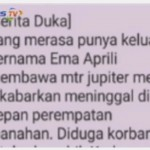 Broadcast Messages tentang kecelakaan di Solo.