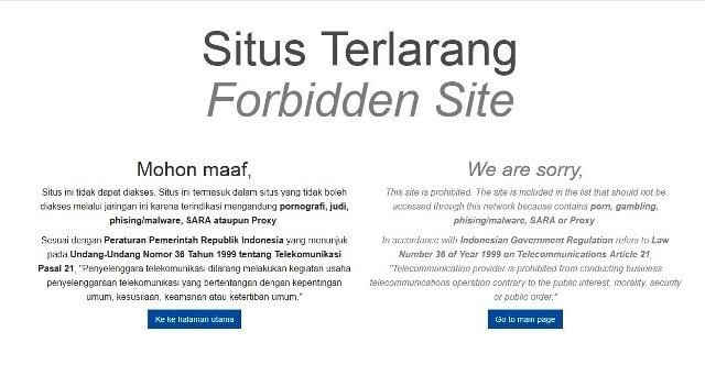 Penampakan laman situs yang telah diblokir. (Istimewa)