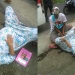 Ibu-ibu melahirkan di trotoar hebohkan netizen Malang. (Istimewa/Facebook)