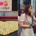 Sebanyak 999 buah pomelo disusun membentuk hati untuk melamar pujaan hati (CEN)
