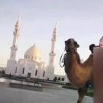 Dengan pakaian minim, seniman ini menari di depan masjid. (Istimewa)