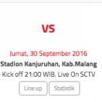 Pertandingan antara Arema Cronus vs Mitra Kukar (Indonesiansc)