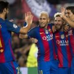 Andre Gomes, Neymar, Messi, dan Suarez, merayakan gol saat menghajar Celtic 7-0 di Camp Nou, Rabu (14/9/2016)  WIB. (Istimewa/@barcelona)