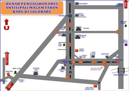 Denah rekayasa arus lalu lintas pada malam Tahun Baru 2017 di Jl. Ir. Soekarno, Solo Baru, Kecamatan Grogol, Sukoharjo. (JIBI/Solopos/Istimewa)