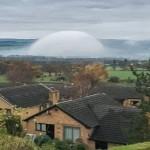 Kabut langka menyerupai kubah terlihat di North Wales. (Istimewa)