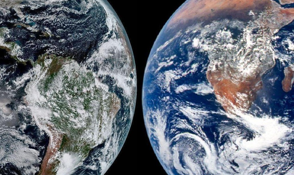 Foto perbandingan Bumi. (Dok. NOAA)