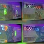 Uang rupiah baru disinari UV (Twitter)