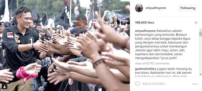 Dukungan untuk AHY dari sang ibunda, Ani Yudhoyono (Instagram @aniyudhoyono)Dukungan untuk AHY dari sang ibunda, Ani Yudhoyono (Instagram @aniyudhoyono)