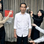 Tim Madame Taussauds Hongkong saat melakukan pengukuran langsung kepada Presiden Jokowi, Oktober lalu. (Istimewa/Facebook)