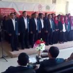 Wakil Ketua Ikatan Dokter Indonesia (IDI) Jateng, Djoko Handojo (paling kiri) melantik pengurus IDI Klaten 2017-2020 di RSI Klaten, Sabtu (18/3/2017). (Ponco Suseno/JIBI/Solopos)
