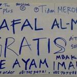 Poster tentang warung mi ayam yang menggratiskan seporsi mi ayam untuk penghafal surat al-Mulk. (Facebook.com-?Hudi Setiono Singduwekontersolusi?)