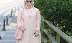 Ilustrasi model gamis untuk wanita gemuk (Pinterest)