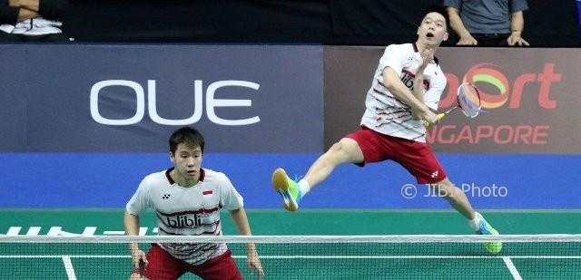 Marcus/Kevin di Singapore Open 2017. (Istimewa/Badminton Indonesia)