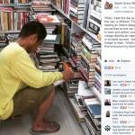 Kuli bangunan yang membaca buku saat jam istirahat (Facebook Sarah Grace regala)