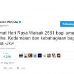TRENDING SOSMED : Ucapkan Selamat Waisak, Warganet Malah Desak Jokowi Bebaskan Ahok