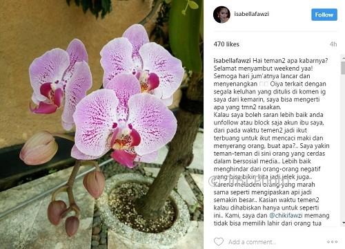 Tanggapan Isabella Fawzi tentang tingkah Marissa haque (Instagram @isabellafawzi)