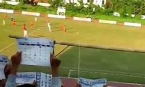 Laga antara PSIP Pemalang dan PSD Demak di Stadion Mochtar, Bojongbata, Kecamatan Pemalang, Kabupaten Pemalang, Jateng, Jumat (19/5/2017) sore. (Facebook.com-Sumber Imam Safii)