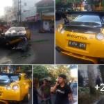 KECELAKAAN SOLO : Supercar Rp3 Miliar Ringsek di Jl. Slamet Riyadi
