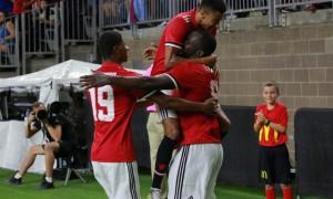 Romelu Lukaku merayakan gol bersama Jesse Lingard dan Marcus Rashford. (JIBI/REUTERS/Richard Carson)