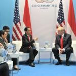 Pertemuan bilateral Presiden Jokowi dengan Presiden Donald Trump, di Hamburg Messe, Sabtu (8/7/2017) siang waktu setempat. (Setkab.go.id/Humas)