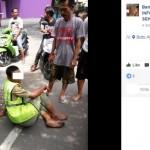Pria berlagak mengatur lalu lintas sambil colek-colek pengendara diamankan warga (Facebook ICS)