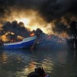 KEBAKARAN PATI : Bangkai Kapal Nelayan Juwana Diteliti Labfor Polri