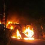 KECELAKAAN MADIUN : Tabrakan dengan Motor, Bus Sugeng Rahayu Terbakar
