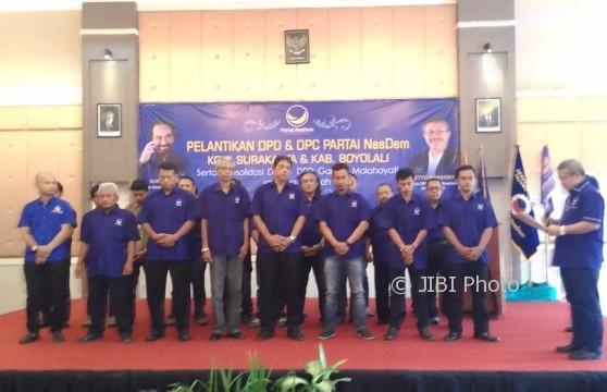 Para pengurus Partai Nasdem Solo dan Boyolali dilantik oleh Ketua DPW Nasdem Jateng, Setyo Maharso, di Hotel Gambiranom, Ngemplak, Boyolali, Minggu (6/8/2017). (Aries Susanto/JIBI/Solopos)