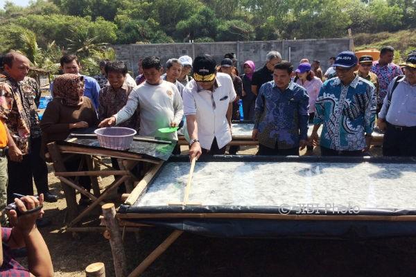 Sri Sultan Hamengku Buwono (HB) X (pegang kayu) saat melihat proses budidaya garam di Pantai Sepanjang, Desa Kemadang, Tanjungsari. Sabtu (12/8/2017). (David Kurniawan/JIBI/Harian Jogja)